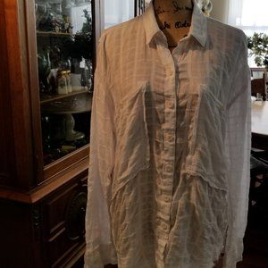 Free People White Checked blouse with fringed hem